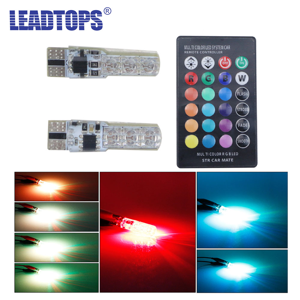 LEADTOPS 2 PCS 5050 SMD T10 RGB leds 194 168 W5W Car signal Light 16 Colors LED Decorative Lamp With Remote Controller Strobe DB