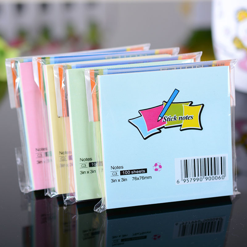 7.6 cm * 7.6 cm Sticker Post It Şarkı Tab Not Pedleri Sticky Notes 100 Sayfalar
