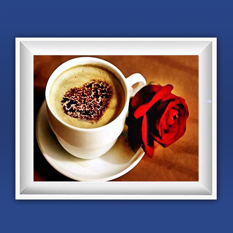 Crafts Needlework Diy Coffee Rose Diamond Painting Cross Stitch Full Diamond Mosaic Painting Embroidery Home Decor Diamond