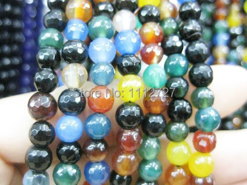 Accessory Crafts Parts 8mm Multicolor Onyx Faceted Round Beads Jewelry Making Semi Finished Stones Balls Gifts 15 Wholesale