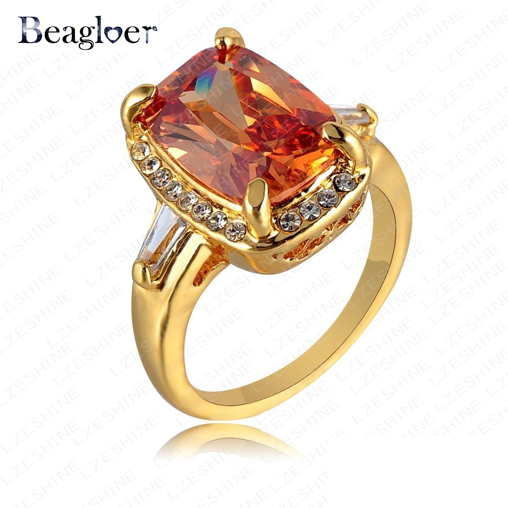 Beagloer Trendy Rings Orange Crystal Rhinestone Ring Gold Color Finger Ring Jewelry Ri-HQ0311